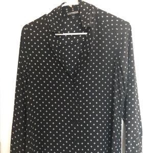 Express Black and White Button Down Blouse